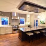 Open plan kitchen marble counter tops