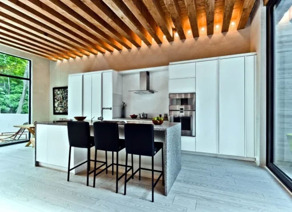 wooden beams kitchen ceiling