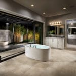 luxury open shower bathroom