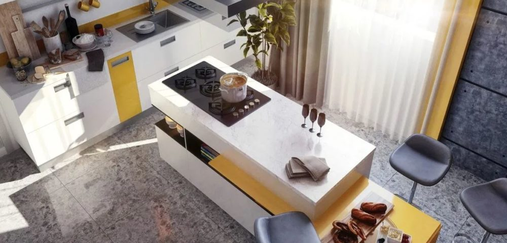 kitchen floor and layout from above